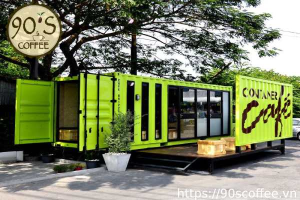Cafe container co hinh dang chu nhat.