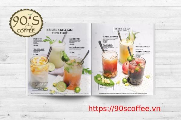 menu do uong quan cafe gay an tuong