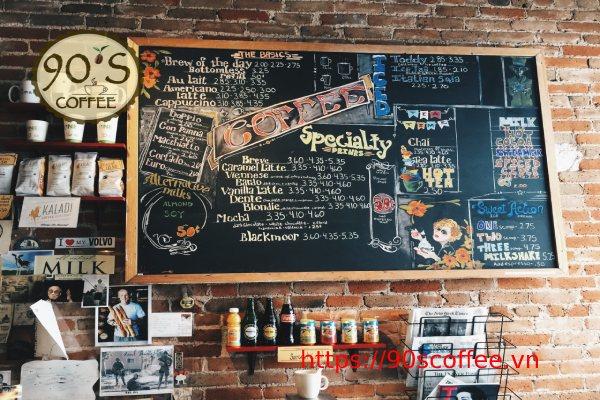 mau menu do uong quan cafe phong cach vintage