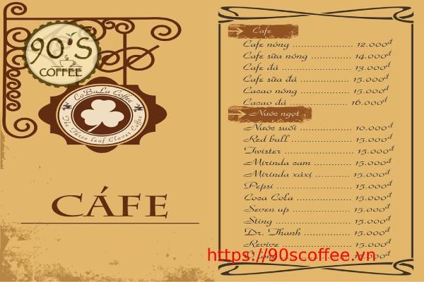 tong mau trong menu do uong quan cafe truyen thong