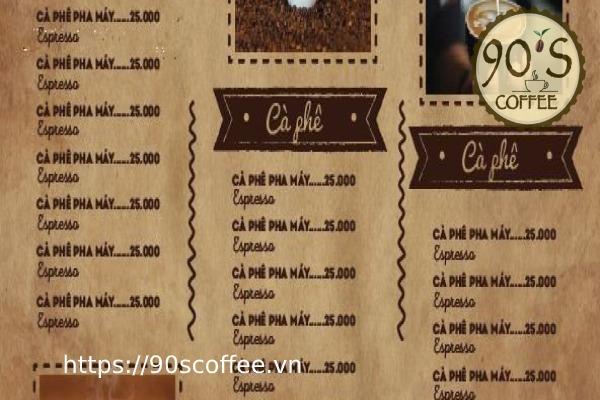 bang gia cac loai thuc uong trong menu quan cafe