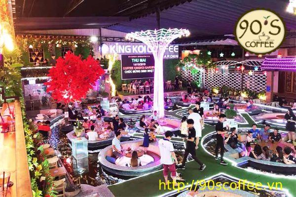 can can khong gian quán King koi coffee garden
