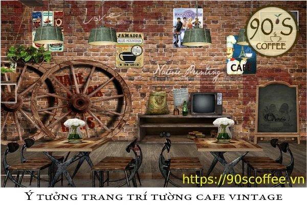 Phong cách tang trí tường cafe vintage