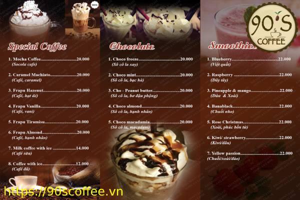 Xay dung menu cho quan cafe.